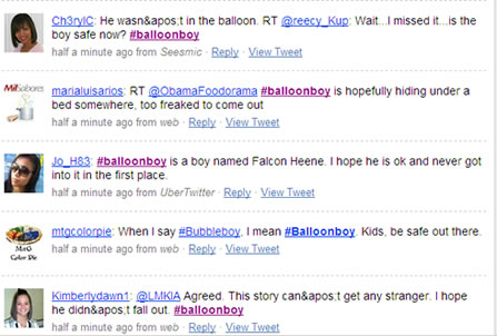 Balloonboy story on twitter